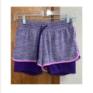 Purple Champion double lined athletic shorts